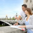 Couple reading tourist map on the Bridge Alexander the Third — Stock Photo #13935807
