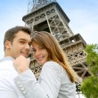 Couple embracing each other in front of the Eiffel tower — Stock Photo #13935853