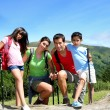 Portrait of family on a trekking day in the moutain — Stock Photo