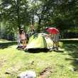 Family doing camping in the forest — Stock Photo