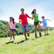 Happy family enjoying and running together in the mountains — Stock Photo #13936986