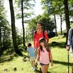 Family having fun on a trekking day — Stock Photo
