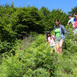 Family on a hiking day going down hill — Stock Photo