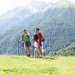 Family on a trekking day in the mountains — Stock Photo #13937188
