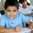 Portrait of smilng young boy sitting in classroom — Stock Photo #13937459