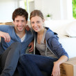 Young couple moving in their home — Stock Photo #13938418
