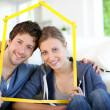 Portrait of happy young property owners — Foto Stock