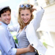 Young couple on a date in town — Stock Photo #13938671