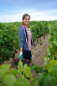 Smiling woman in vineyard rows — Stock Photo