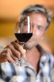 Focus on glass of red wine hold by winemaker — Stock Photo