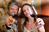 Winemakers holding glasses of red wine — Stock Photo