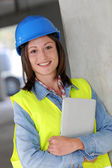 Portrait of smiling construction worker — Stock Photo