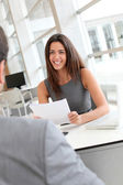 Businesswoman interviewing job applicant — Stock Photo