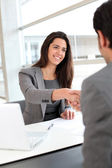 Business partners shaking hands after meeting — Stock Photo