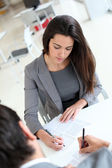 Upper view of business signing contract — Stock Photo
