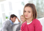 Portrait of bored little girl at home — Stock Photo