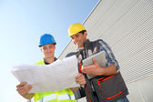 Young in professional training on industrial site — Stock Photo