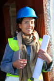 Woman architect standing on construction site — Stock Photo