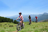 Family riding bikes in the mountains — Stok fotoğraf