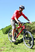 Man riding mountain bike in summertime — Stock Photo