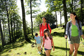 Family having fun on a trekking day — Stock Photo