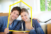 Portrait of happy young property owners — Stock Photo