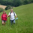 Senior couple hiking in countryside — Stock Photo