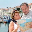 Senior couple in touristic area looking at map — Foto Stock