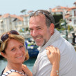 Closeup of cheerful senior couple in vacation - Stock fotografie