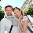 Smiling couple doing shopping in Bordeaux — Stock Photo