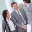 Business meeting outside office building — Stock Photo