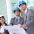 Business checking construction site — Stock Photo