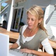 teleworker in front of latptop computer at home — Stock Photo