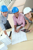 Upper view of team of architects working in office — Stock Photo