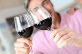 Closeup of red wine glasses — Stock Photo