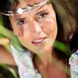 Stock Photo: Gypsy girl with neacklace around her head