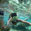 Stock Photo: Couple snorkeling in Caribbewaters
