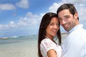 Closeup of happy couple on honeymoon travel — Stock Photo