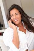 Closeup of attractive woman using cellphone — Foto de Stock