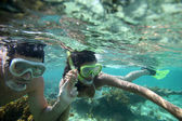 Couple snorkeling in Caribbean waters — Stock Photo