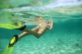 Closeup on snorkeler flippers underwater — Stock Photo