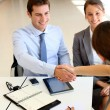 Business associates shaking hands in office — Stock Photo #13960336