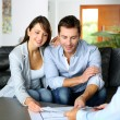 Foto de Stock  : Couple meeting consultant for financial contract