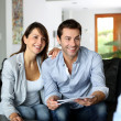 Couple meeting architect for plans of future home — Stock Photo #13961914
