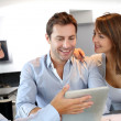 Couple meeting architect for plans of future home - Foto Stock