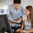 Business partners at work in front of desktop — Stock Photo #13965089