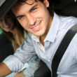 Stock Photo: Driving with seat bealt on