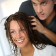 Stock Photo: Portrait of woman at the hairdresser