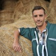 Portrait of cheerful farmer standing in front of hay rolls — Stock Photo #13965535