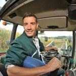 Farmer driving tractor in corn field — Stock Photo